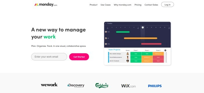 This screenshot of the home page for Monday.com has a white background with a sample screen of a project page and an invitation in black and green lettering to use this tool to manage workloads.