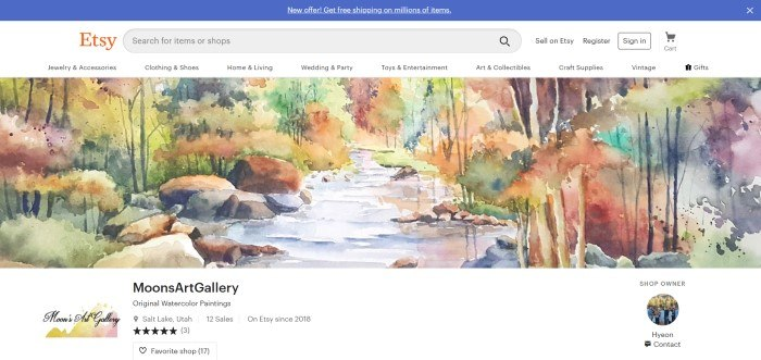 This screenshot of the home page for Moon's Art Gallery has a blue header, a white navigation bar with the Etsy logo, and a banner containing a partial shot from one of Hyeon Moon's original watercolor paintings, featuring a stream bank during the Autumn.