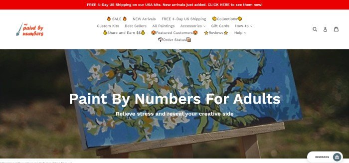 This screenshot of the home page for My Paint By Numbers has a red header introducing free shipping on USA kits, a white navigation bar, and a large photo of a finished paint-by-number project, along with white text announcing paint by number kits for adults.