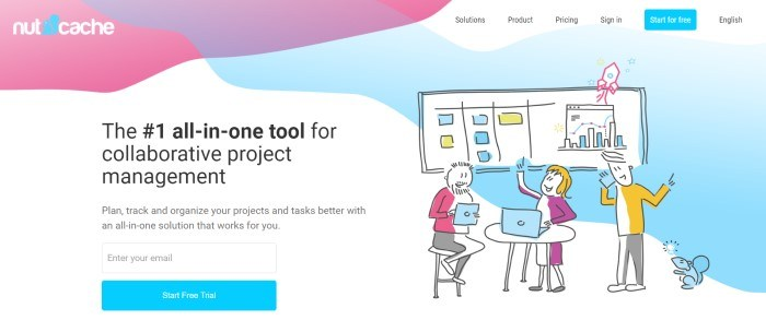 This screenshot of the home page for Nutcache announces this company as the #1 all-in-one tool for collaborative project management in black text with a white background and a graphic of a happily working team in blue, yellow, pink, and purple.