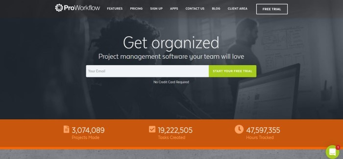 This screenshot of the home page for ProWorkflow has a dark filtered photo of a team at work on their laptops behind white text inviting people to get organized and a green call-to-action button for starting a free trial, above an orange footer with facts about the business.
