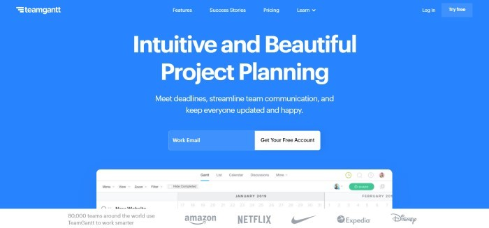 This screenshot of the home page for TeamGantt has a blue background with white lettering stating