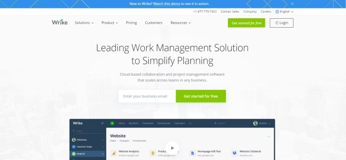 This screenshot of the home page for Wrike has a white background with a sample dashboard below black text announcing Wrike as a way to simplify planning and a green call-to-action button for getting started for free.