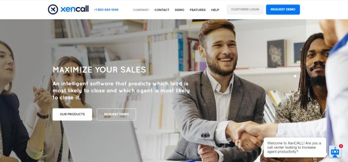 This screenshot of the home page for XenCALL has a white navigation bar above a photo of a group of business people smiling and shaking hands, behind white text announcing the ability to maximize sales by using XenCALL software.