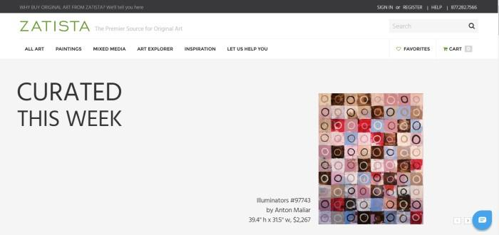 This screenshot of the home page for Zatista has a white background with a gray middle section featuring artwork that was curated recently, including a piece made of squares and circles in tans, browns, reds, pinks, and blues, entitled