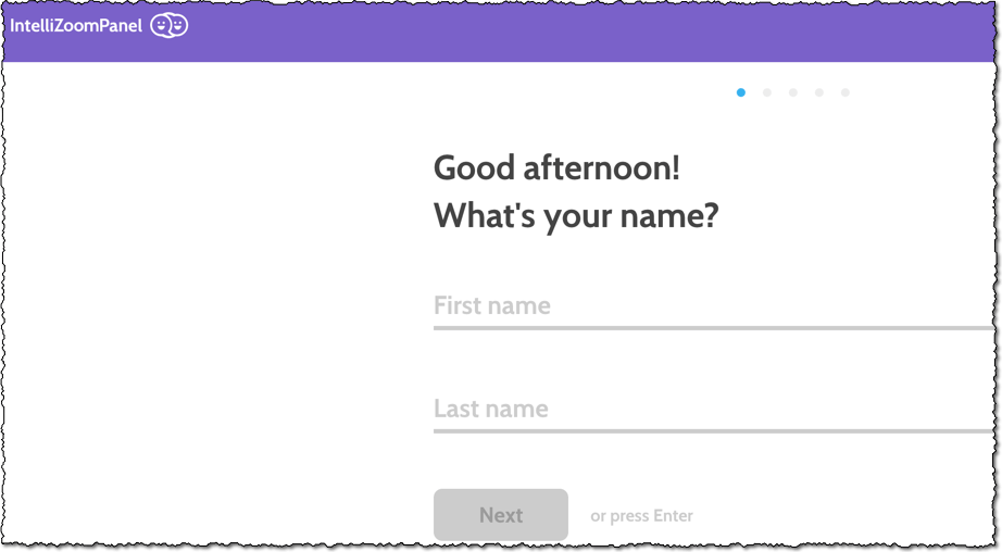 sign up intellizoom page enter first and last name