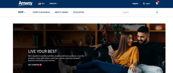 Amway Website Screenshot showing a young couple on a couch