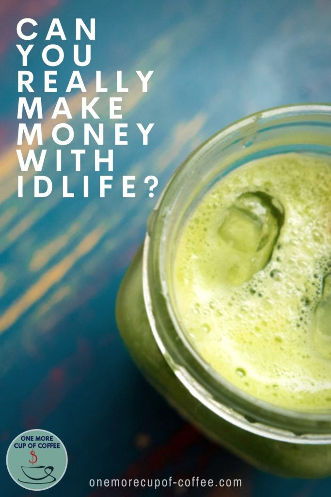 closeup image of a green healthy drink in mason jar, with text overlay