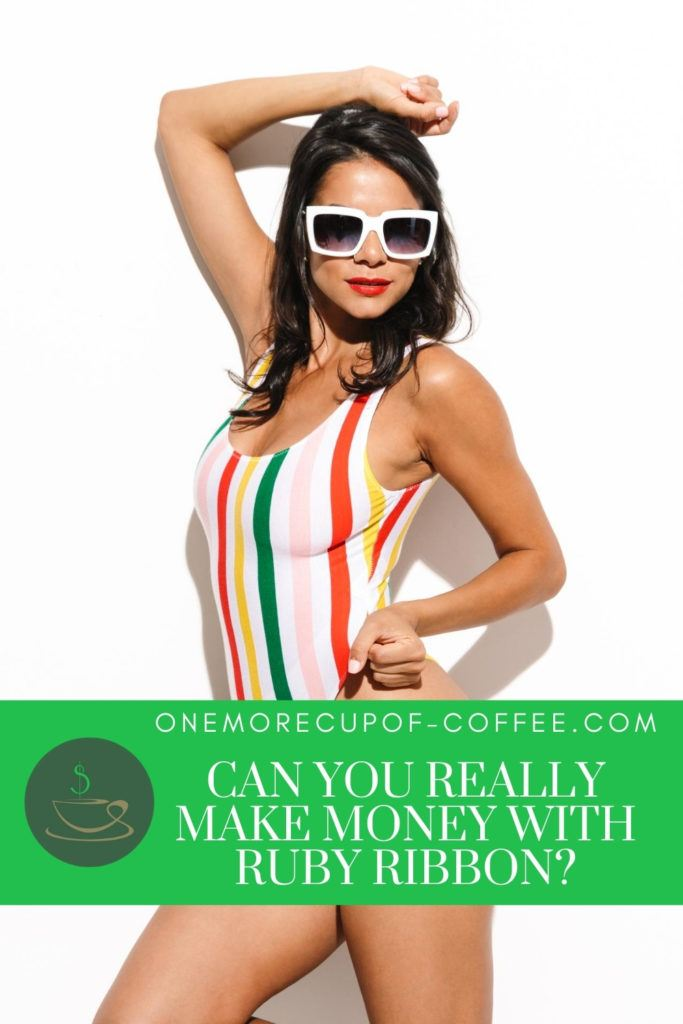 woman in multicolored-stripes one-piece bathing suit, wearing white-rimmed sunglasses, with text overlay in green banner