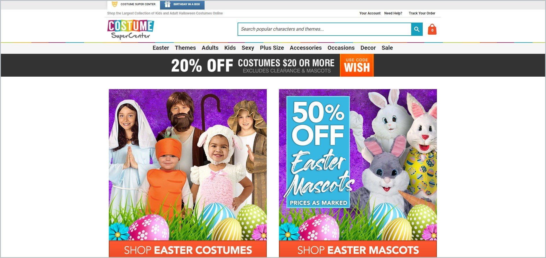 screenshot of Costume and Party SuperCenter homepage, with white header with the website's name and search bar, underneath it is a white navigation bar, it also showcases pictures of some of their costumes
