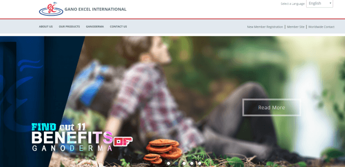 Gano Excel Website Screenshot showing the mushroom and a man reclining