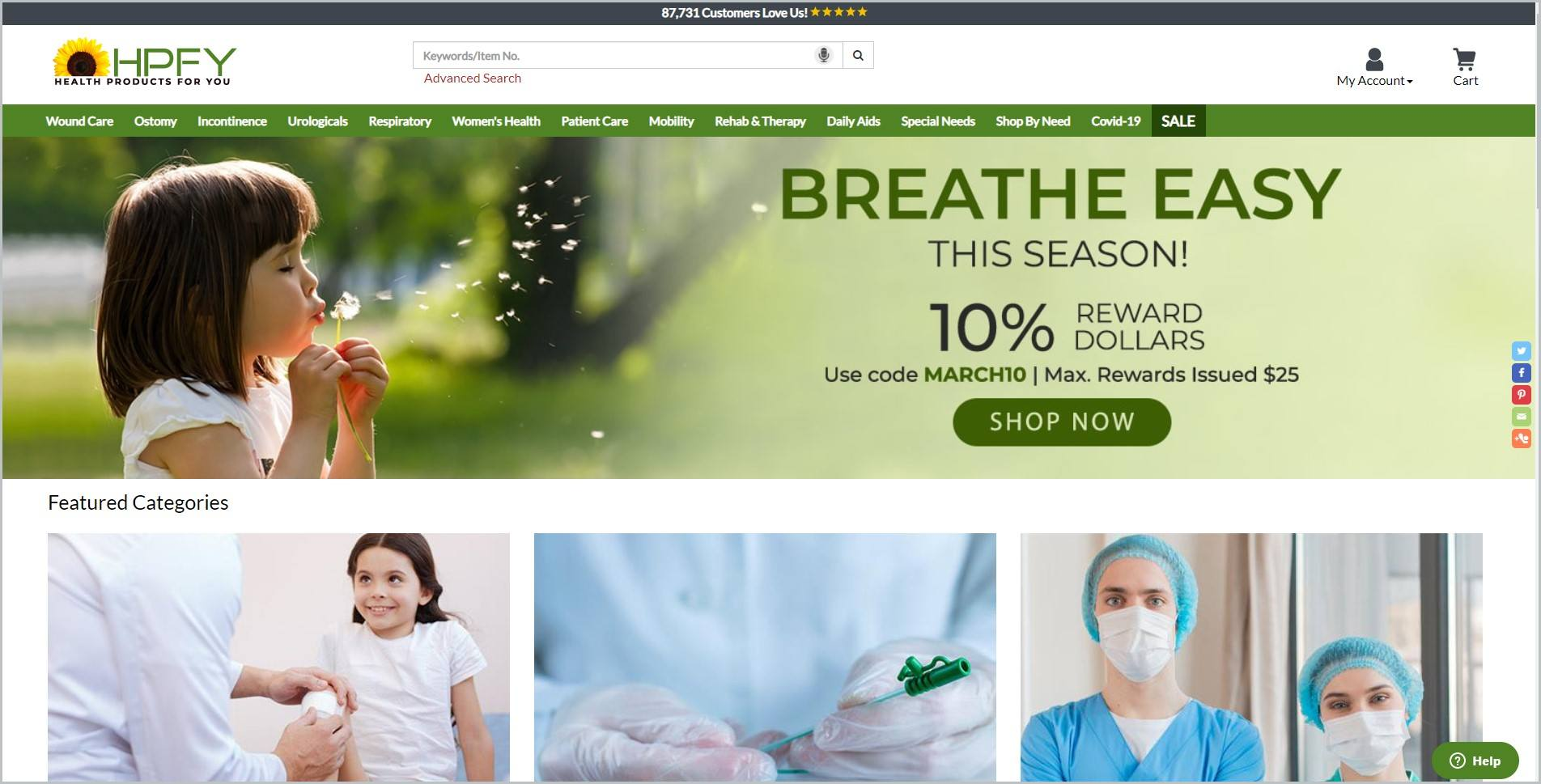 screenshot of Health Products For You homepage with black announcement bar, white header with the website's name and search bar, showcasing images of some of their products