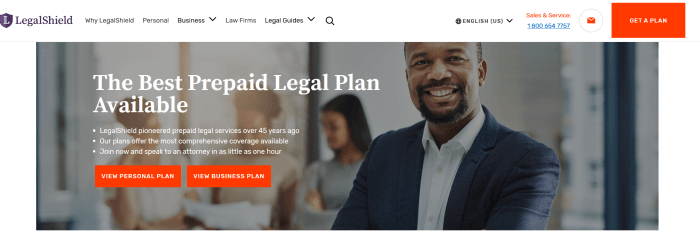 Legal Shield Website Screenshot showing a lawyer with clients behind him