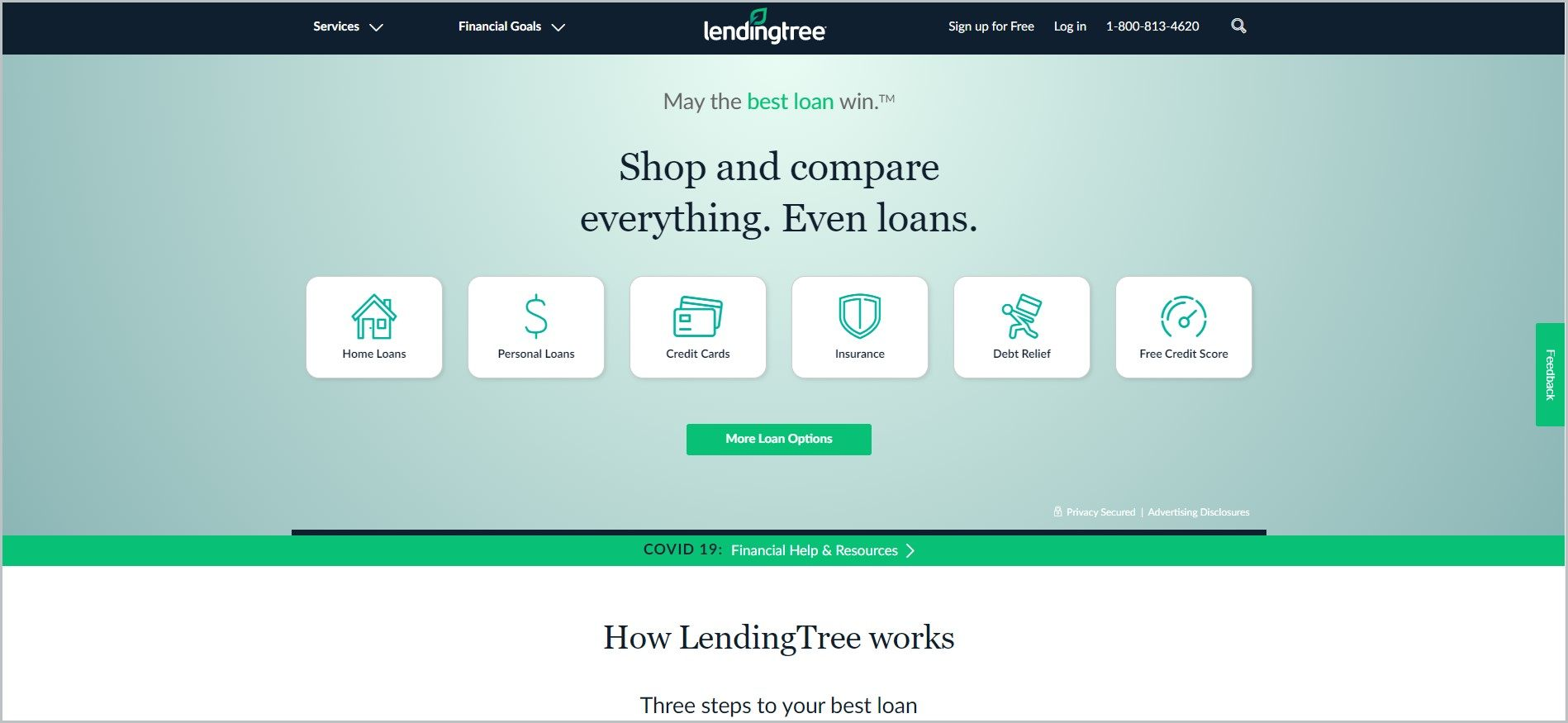 screenshot of LendingTree homepage with black header bearing the website's name and main navigation menu, it also showcases the services being offered and a green call to action button