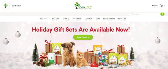 Pawtree Website screenshot showing a puppy and a kitten surrounded by gifts