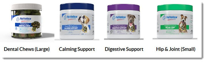 A selection of four pet care products from NeVetica