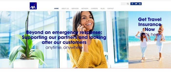 This screenshot of the home page for AXA Assistance USA has a white header above a photo of a smiling dark-haired woman talking on a mobile phone, behind blue text announcing travel insurance that goes beyond emergency response.