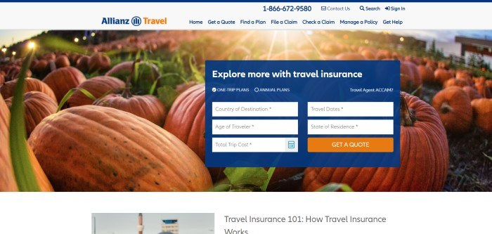 This screenshot of the home page for Allianz Global assistance has a light gray background with blue and orange elements in the logo, above a photo of a field of pumpkins with a dark blue option box where customers can begin their search for travel insurance.