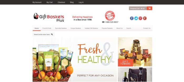 This screenshot of the home page for Gift Baskets Plus has a white background with red and black text in the header and navigation bar, above a photo of a large fruit basket next to the words