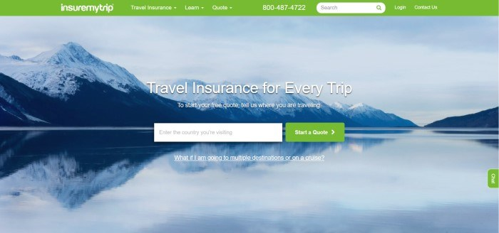 This screenshot of the home page for Insure My Trip has a green navigation bar above a blue photo of a lake next to snowy mountains and an opt-in box for customers to enter the country they plan to visit, along with a green
