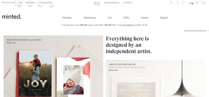 This screenshot of the home page for Minted shows white background with a two beige-background photos showing examples of Minted stationery, next to words in black text that read
