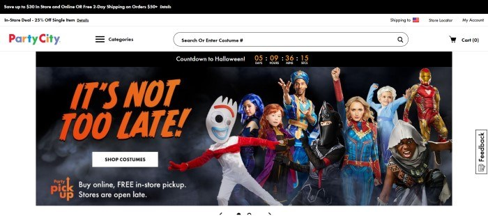 This screenshot of the home page of Party City shows a diverse group of people in Halloween costumes, including one for Captain Marvel and a genie, next to the words