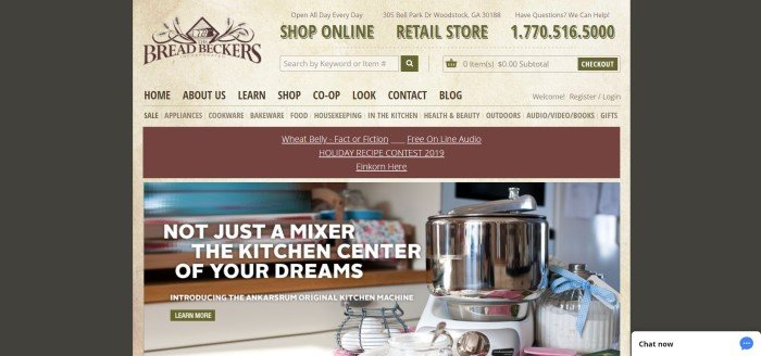 This screenshot of the home page of The Bread Beckers has a black background with a mottled tan middle section containing all the words, the navigation bar, and a photo of a stainless steel kitchen mixer, along with an advertisement for it.