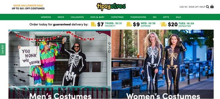 This screenshot of the home page for Tipsy Elves has a white background with a green navigation bar above a photo on the left side of the page of a man dressed as a pinata next to a man dressed in a black jumpsuit with a skeleton on it and the words