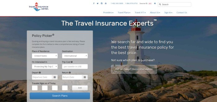 This screenshot of the home page for Travel Insurance Center has a white header with a blue and red logo above a dark-filtered photo of a lighthouse on a rocky coast and a gray text box where customers can begin to search for travel insurance options.