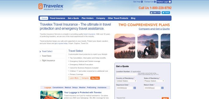 This screenshot of the home page for Travelex Insurance Services has a background that looks like a pale blue sky with white clouds, along with a section of white background with text in blue and black, a blue navigation bar, and a set of three photos showing someone in a beanie cap looking out over a beautiful lake and city from a rocky perch higher above them.