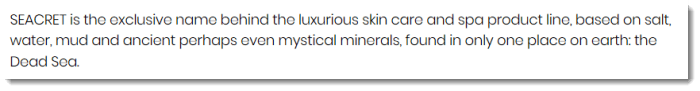Claim from Seacret about their skincare products
