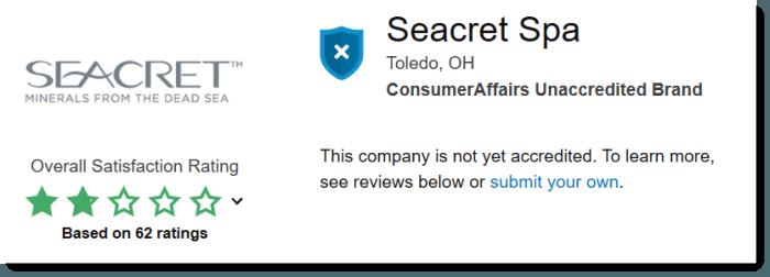Poor ratings for Seacret