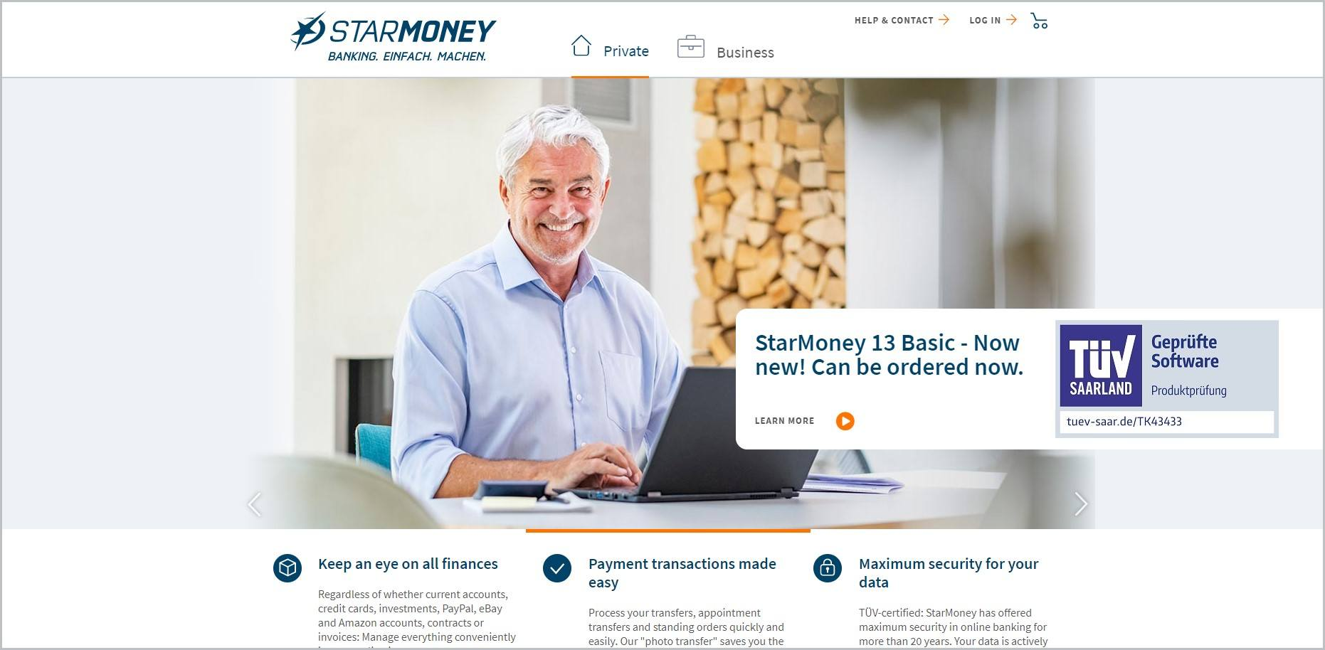screenshot of StarMoney homepage with white header bearing the website's name and navigation menu, it also showcases the features of their products