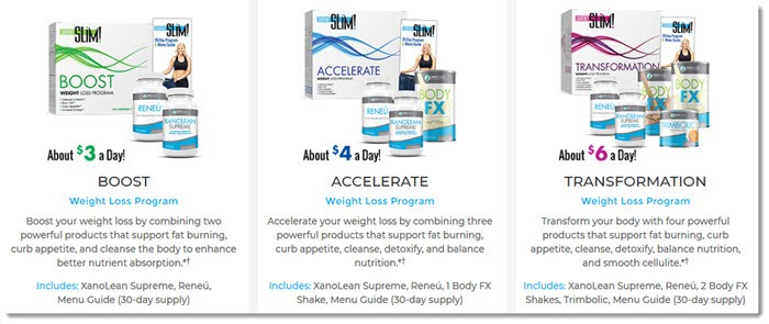 Three weight loss packs and descriptions
