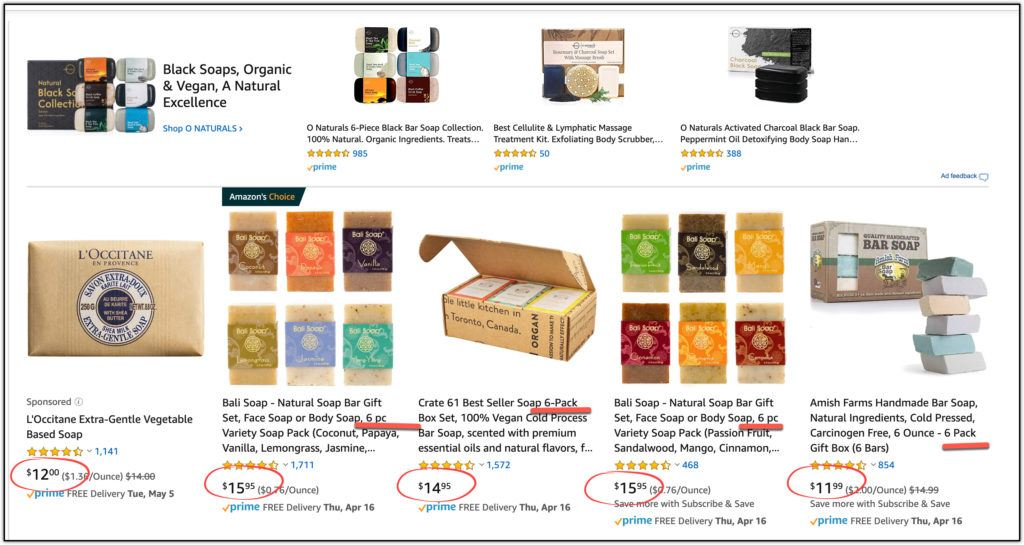 amazon handmade soap six-pack pricing