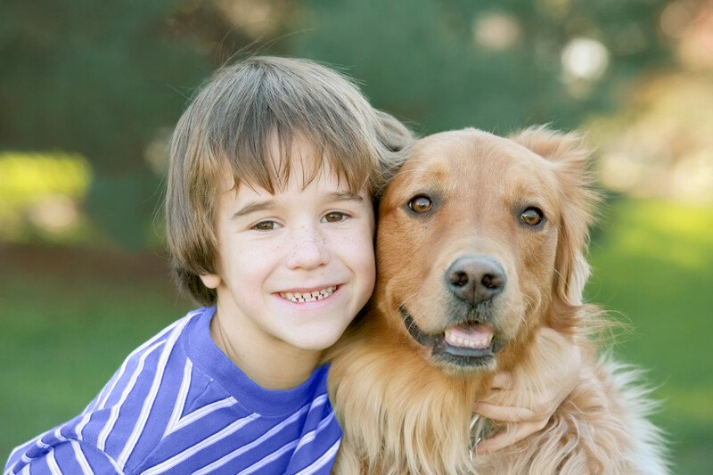 This photo shows a smiling brown-haired boy with a blue shirt sitting in a green park, snuggled close to a long-haired, light brown, happy-looking dog, representing the best dog affiliate programs.