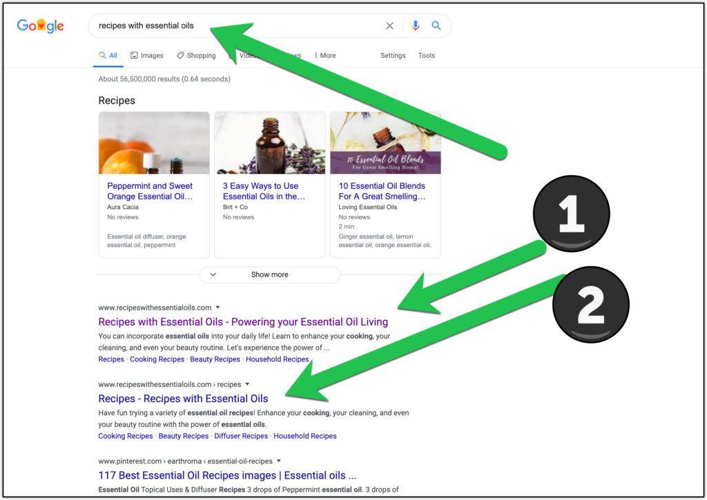 google rankings essential oils