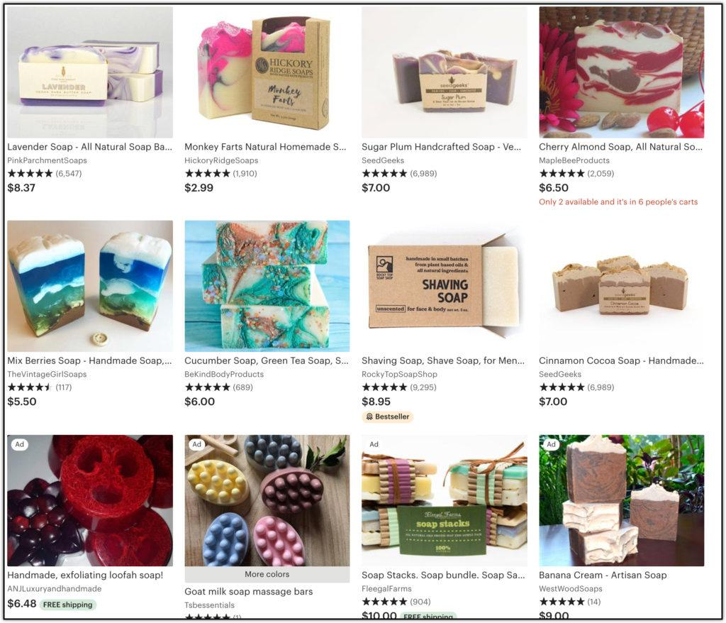 homemade soap on etsy pricing