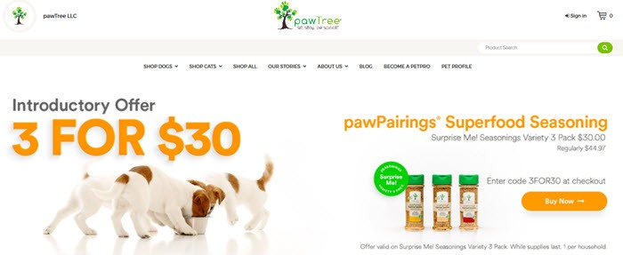 Website screenshot from pawTree showing three puppies eating out of a bowl along with various food seasonings