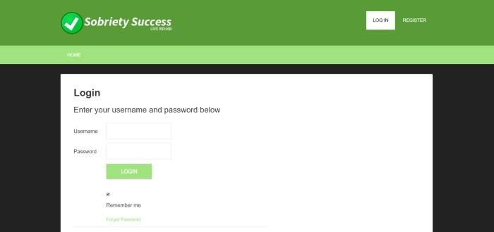 This screenshot of the home page for sobriety success has a green header, a black background, and a large white opt-in window with black text and a green 'log in' button.