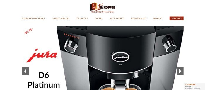 This screenshot of the home page for 1st in Coffee has a white background with black and red text introducing a jura coffee machine, along with a large photo of the machine.