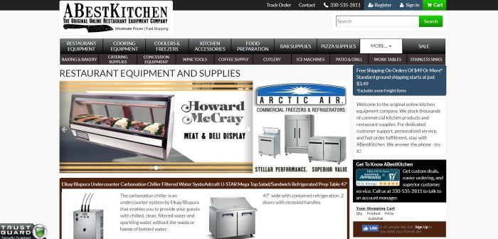This screenshot of the home page of A Best Kitchen has a black and white header and navigation bar above a photo of a meat and deli display and an advertisement for commercial freezers and refrigerators.