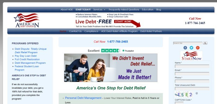 This screenshot of the home page for American Debt Enders has a white background with blue and red elements, including a blue navigation bar, and a photo of a smiling man and a smiling woman who are looking at a laptop screen, near words in red and blue that read 'We didn't invent debt relief…we just made it better.'
