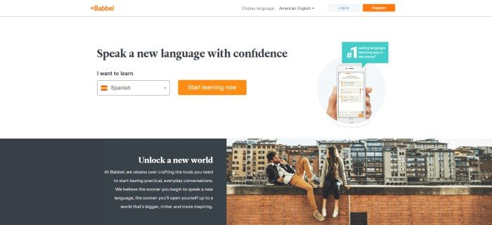 "This screenshot of the home page for Babbel has a white background with a photo of a man and a woman sitting on a brick wall in front of a cityscape, as well as a photo showing a hand holding a mobile device with the Babbel app loaded on it and black text that reads ""Speak a new language with confidence."""