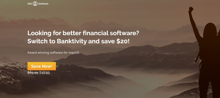This screenshot of the home page for Banktivity has a brown-filtered photo of a range of mountains with mist in the valleys, behind white text announcing that Banktivity can save $20 over other financial software, along with a golden call-to-action button.