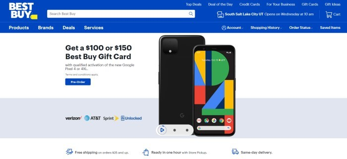 This screenshot of the home page for Best Buy has a blue banner and navigation bar, a white background, a photo of the new Google Pixel4 and 4XL side-by side, and black text offering a $100 or $150 Best Buy gift card with a blue pre-order button.