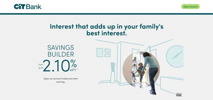 This screenshot of the home page for CIT Bank has a white background with dark teal text, a dark teal outline of the inside of a house, and an inserted circle with a photo of a woman in jeans and an aqua-colored shirt welcoming two children and a man into the house.