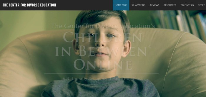 This screenshot of the home page for Center For Divorce Education has a black navigation bar above a photo of a distressed looking boy sitting in a high backed chair and wording in white that announces The Center For Divorce Education's