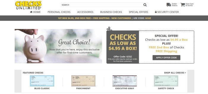This screenshot of the home page for Checks Unlimited has a white navigation bar and a logo in yellow and black above a photo of someone inserting a coin into a piggy bank, along with an advertisement for low-priced checks and a row showing sample checks in various colors and styles.
