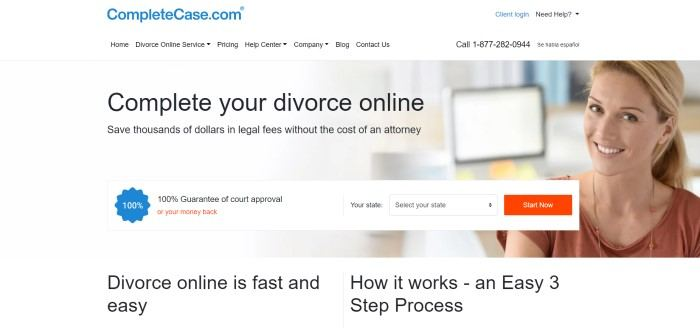 This screenshot of the home page for Complete Case has a white background with black test inviting consumers to complete their divorces online, along with a photo of a smiling brown-eyed woman in a rust-colored shirt sitting in front of a computer screen.